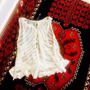 Free People Boho Knit Lace Top Button White Tank